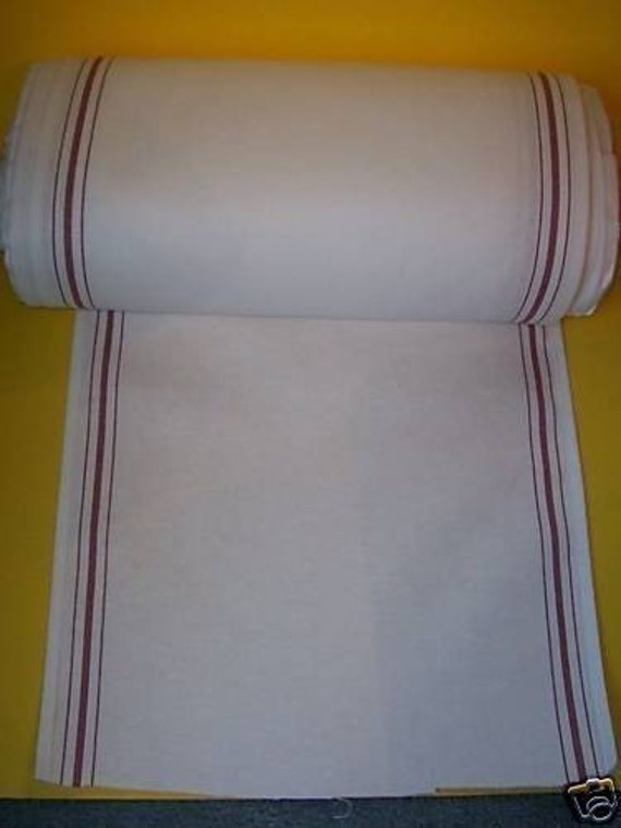 White KITCHEN TOWELING, Red Stripe,  17 inches wide , sold by the yard