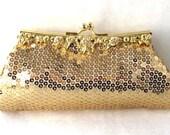 Evening Bag/ Handbag---Bling Bling Gold Sequin laced Clutch