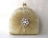 Evening Bag/ Handbag---Gold Embossed Rhinestone Jewel Box Clutch