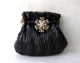 Late 90s Deadstock - Evening Bag/ Handbag-Red Luminous Velvet BagEvening Bags---Rhinestone Flower Pin on Black Leaf  Vein Texture Purse