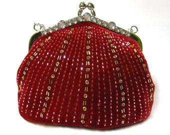Late 90s Deadstock - Evening Bag/ Handbag-Red Luminous Velvet Bag