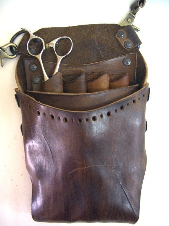 20% OFF SALE - Scissors Case/Handmade Leather Helmet Style Shear Holster for Professional Hairdresser