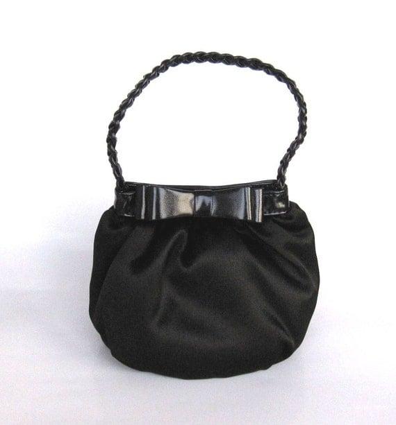 Evening Bag/Handbag---Cute Black Satin Pouch for Wedding or Prom