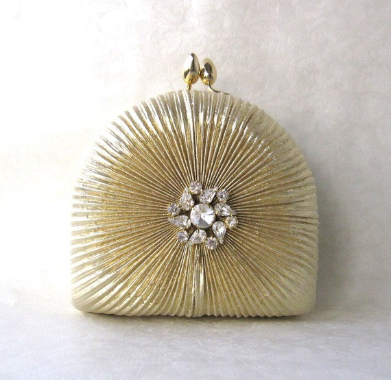 Evening Bag/ Handbag---Gold Embossed Rhinestone Jewel Box Clutch