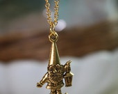 Little Golden Garden Gnome on a Gold Plated Chain Necklace