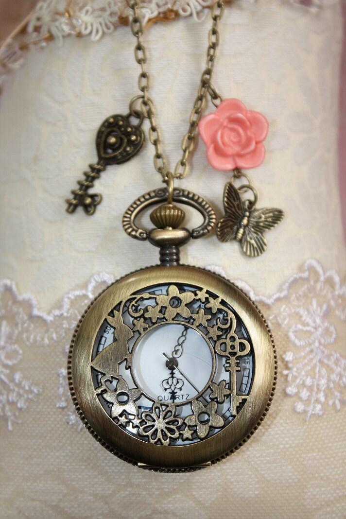 Pocket Watch Necklace Secret Garden Pocketwatch Antiqued