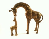 Brass Giraffe Statues, Mother and Baby Giraffe Figurines