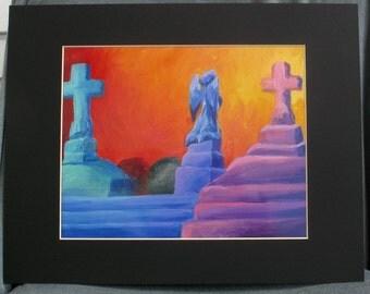 Cemetery Scene 8 x 10 PRINT with 11 x 14 Black Matte