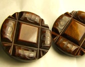 1940s 1950s  Art Deco Style Large Vintage BUTTONS three Dark Brown - 37mm  1 and 7/16th