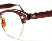 Browline 1950s eyeglasses STUNNING , Art Craft Brand USA , 12 k Gold Filled