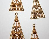 4 Vintage BRASS DECO style triangle findings