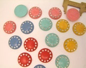 5 Vintage 1950's Flat Back Rhinestone Cabochons  // 25mm Jewelry Buttons In Assorted Candy Colors