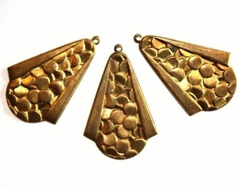 Vintage Brass Textured Drop - 3 pieces
