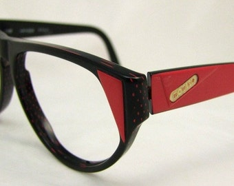 1990s Rodier  Eyeglasses // 90s Vintage Designer Frames // Black and Red // Made in Western Germany // Rodier