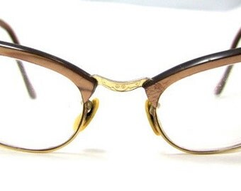 Amazing 1950s Cats Eye Frames // 50s Hornrimmed Cateyes Eyeglasses // Taupe Maroon // 12 K Gold Filled