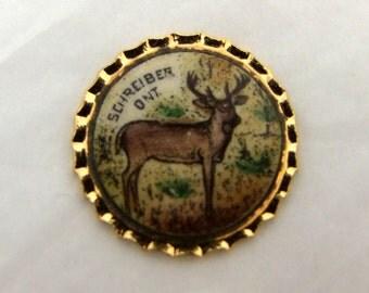 6  Vintage Round Deer enameled Souvenir Crests 20 mm