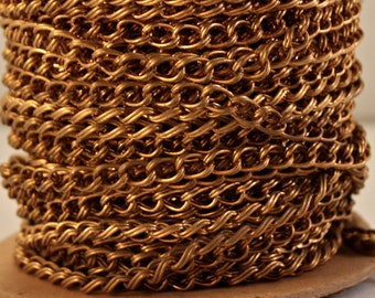 """12 Feet vintage Brass double Curb unsoldered links 11mm x 7mm or .5"""" x .3"""""""
