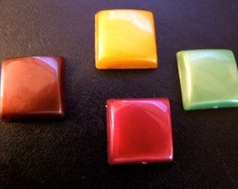 6 Vintage Square Cabochons 1950s 1960s  Flat back Beauties Rare style/19mm  x  19 mm