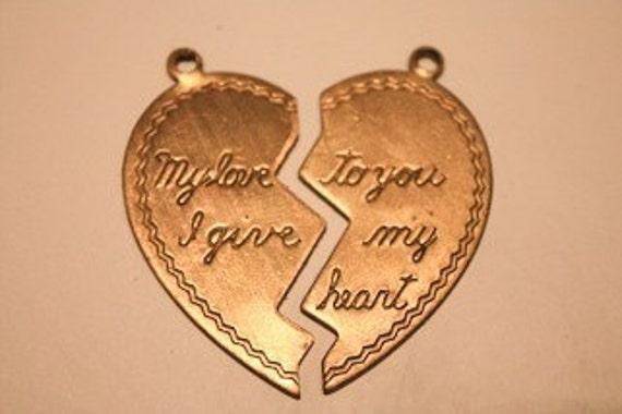 1 Brass Antique Broken Heart double Pendent both sides