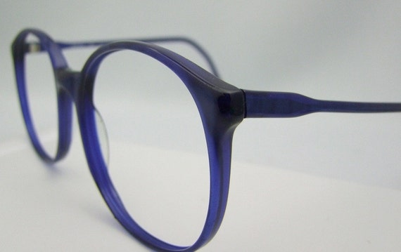 BLUE  MAGNIFICENT 80S EYEGLASSES NORDIC MADE IN GERMANY LARGE LENS