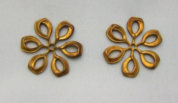 2 Original Brass  1950s Vintage Stampings ,Stunning,Patina and Natural aging.