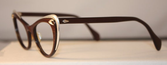 1950s Vintage Woodframe Eyeglasses Aluminum Inlay GREAT condition