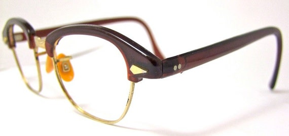 1940s 50s  Beatiful Engraved CATEYE Horn Rimmed  Eyeglasses Poco brand
