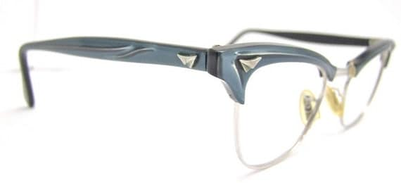 1950s  American Optical 12k White  goldfilled Beatiful Blue CATEYE Browline  Eyeglasses