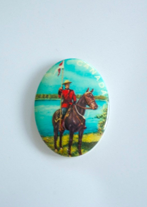 2 Vintage 1970s Canadian Mountie Cabochons