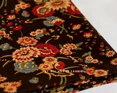 Oriental Brown Floral Cotton, U1178