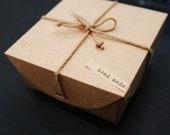 Natural Kraft DIY Box 17x17cm, with braids n Handmade label, set of 2, U6013