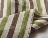 A Yard of Green n Brown Vintage Stripe Linen blended, U1972