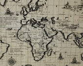 COMEBACK , 2 Yards of, 2 whole maps, Antique The MAP of World Wide in A Yard Linen Blended, U2113