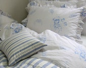 3 Yards of Irish Blue Bouquet Washing White Ivory Linen WIDE 135cm, U2794