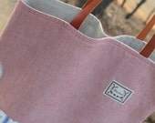 SALE, The Marine Red, Linen and Cotton Natural Tote Bag