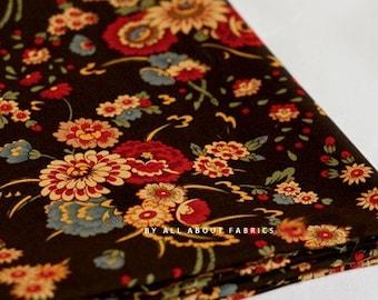 Oriental Brown Floral Cotton, U1178