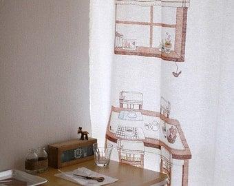 Hand Drawing Illus, TEA Time on White Linen 143cm WIDE, U1505