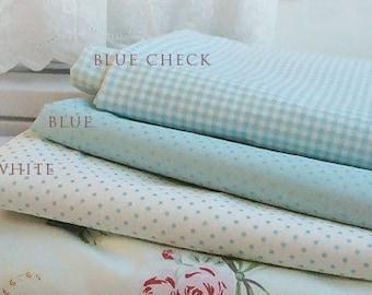 Lovely Pearl SKY Blue 3 styles, Polka Dot, Checks, Each a half yard, set of 3, U1312