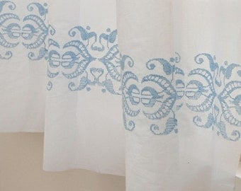 3 Yards of Skyblue Embroidery White ASSA Cotton WIDE 143cm, U1671