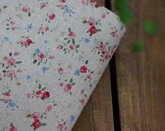 A Yard of Petit Rose Linen Natural 140cm WIDE, U1447