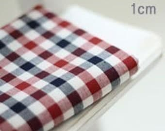 Vintage Style Blue and Red Checks Fat Quarter Cotton