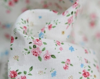A Yard of Petit Rose Linen White 140cm WIDE, U1448
