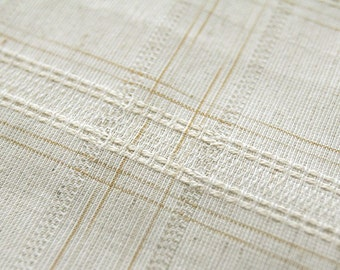 Neat Stitch and Check Beige Linen blended, U1617