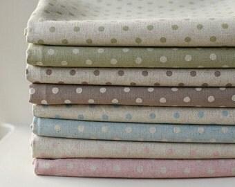 A Yard of per one Style, Natural Polka Dot Linen, U1301