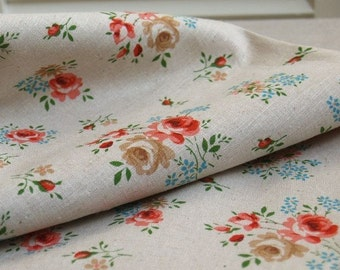 A Yard of Excellent Romantic Shabby Floral Linen, U1136