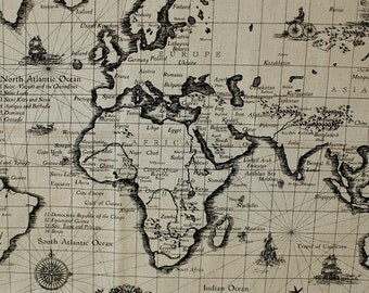 COMEBACK , Antique The MAP of World Wide in A Yard Linen Blended, U2113