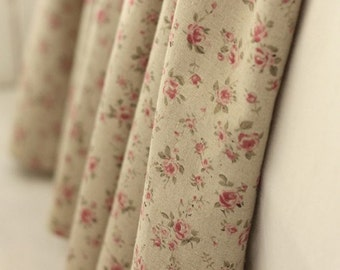 A Yard of Pretty Pink Petit Roses on Linen blended Wide 140cm, U2177