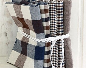 Each half yard, Vintage Brown and Blue Check SET of 5, U2188