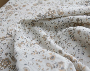 One cut, over 2Yards of Water Sketch Style Brown Floral Gauze Wide 145cm, U2225