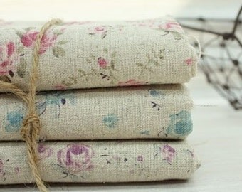 SALE, Mini Rose Linen WIDE Fat Quarter 70cm x 45cm, set of 3, U1144